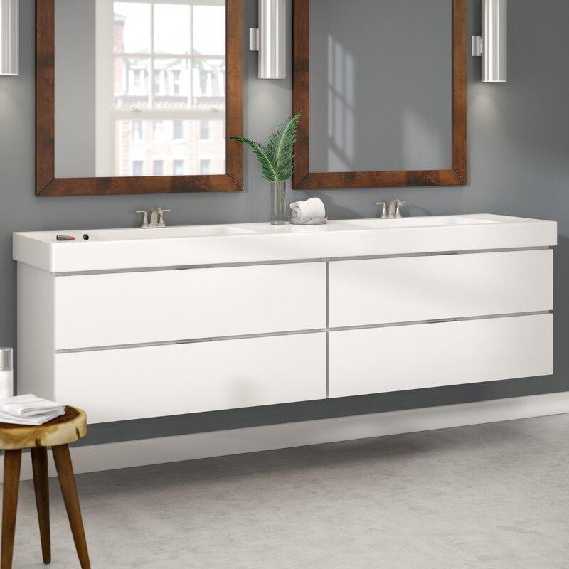 Tenafly Wood 80 Double Modern Bathroom Vanity Set