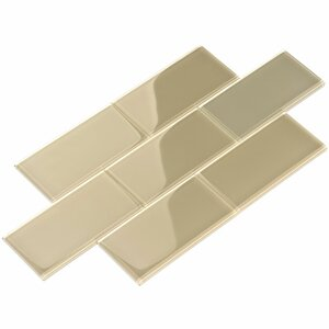 3 x 6 Glass Subway Tile in Light Taupe