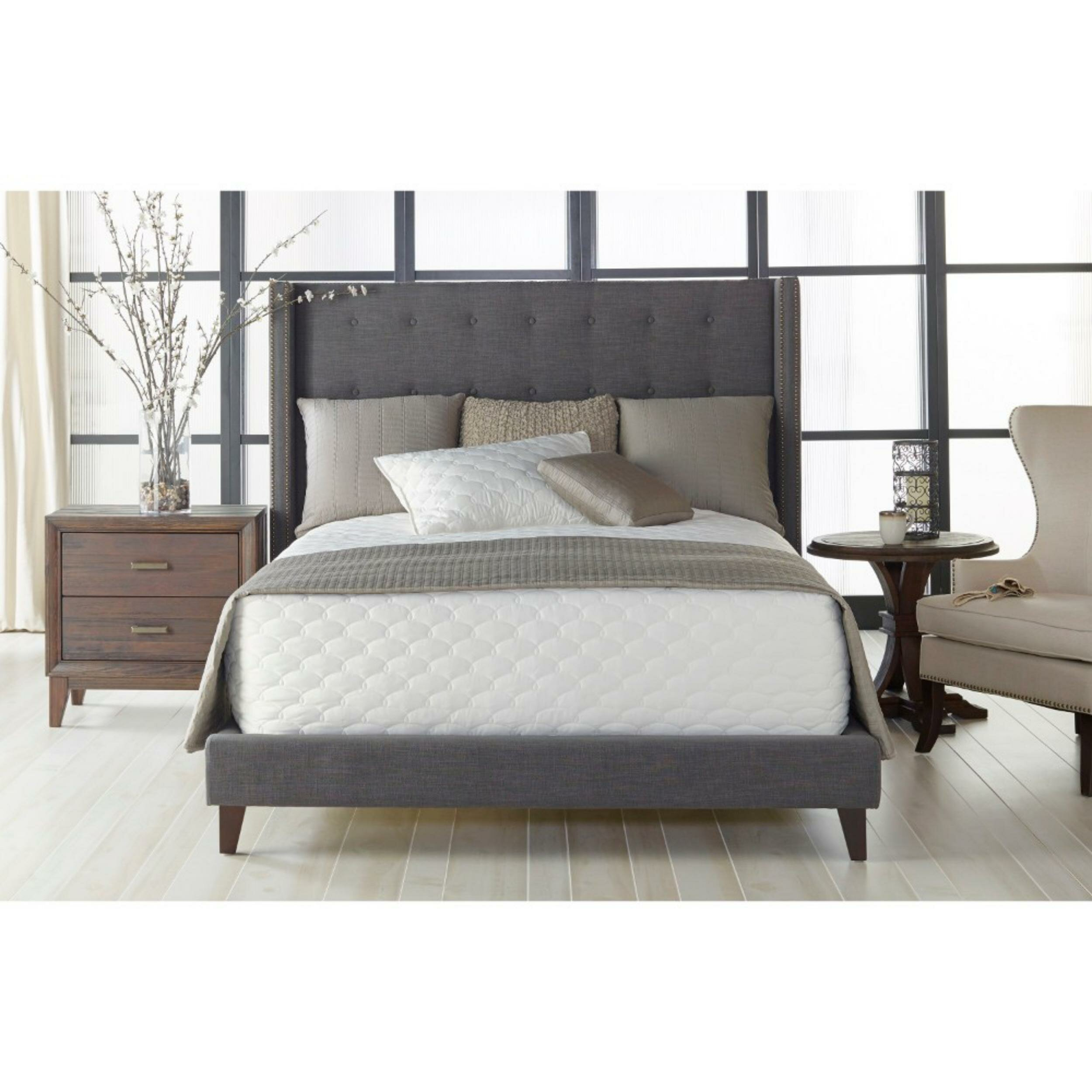 fefb7250455f Red Barrel Studio Standard King Bed With Button Tufted Linen Upholstered  Headboard, Grey | Wayfair.ca