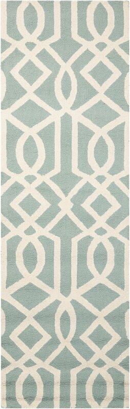 Alcott Hill Addingrove Hand-Knotted Wool Aqua/Ivory Area Rug, Size: Runner 23 x 76