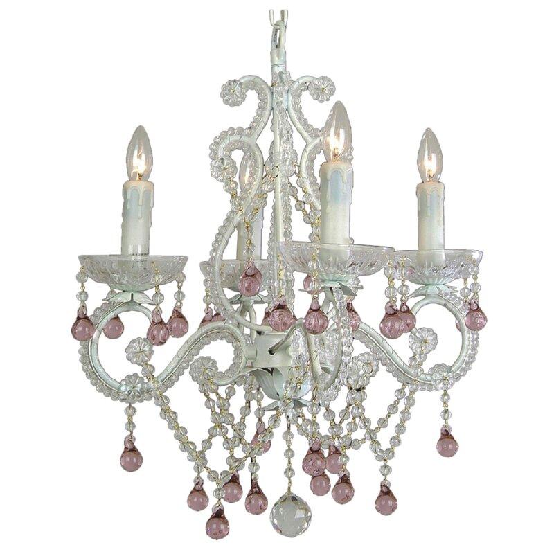 House of Hampton Chon 4-Light Crystal Chandelier  Crystal: Pink