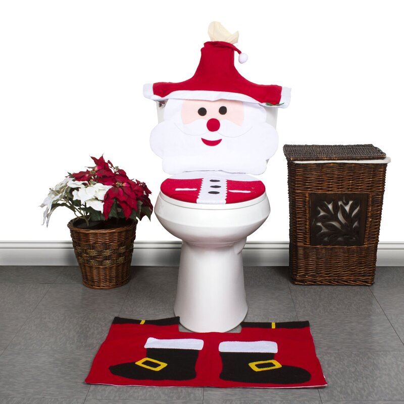 4 Piece Christmas Santa Face Bathroom Toilet Seat Cover And Rug Set