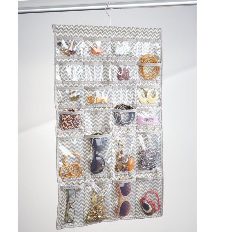 Chevron Fabric Hanging Fashion Jewelry Organizer