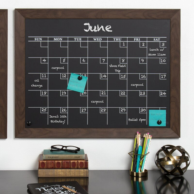 Union Rustic Framed Monthly Calendar Magnetic Chalkboard