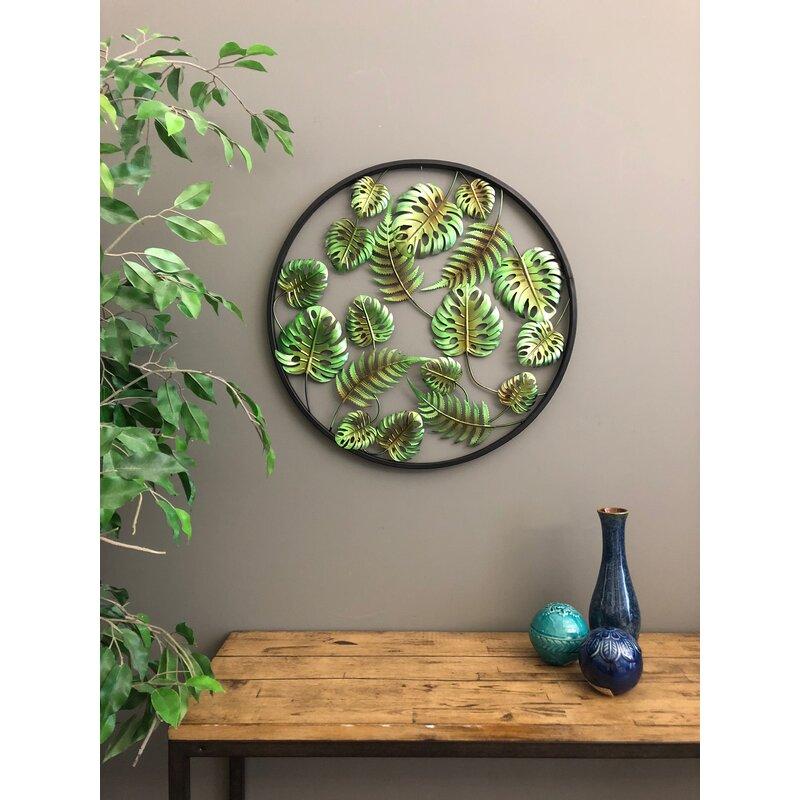 Fresh Bay Isle Home Metal Circle 3 Dimensional Palm Leaves Tropical Wall  ZE49