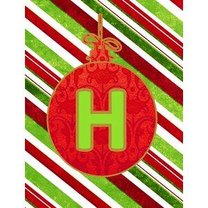 Christmas Ornament Holiday Monogram Initial 2-Sided Garden Flag