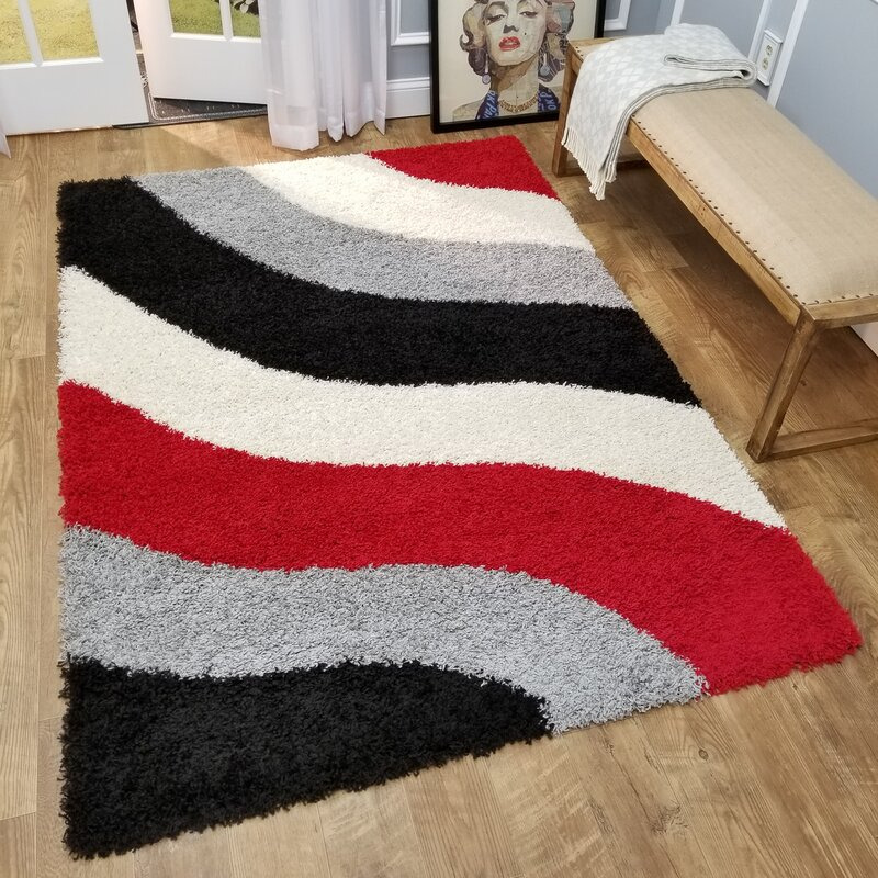 Zipcode Design Burns Block Striped Waves Contemporary Shag Area Rug