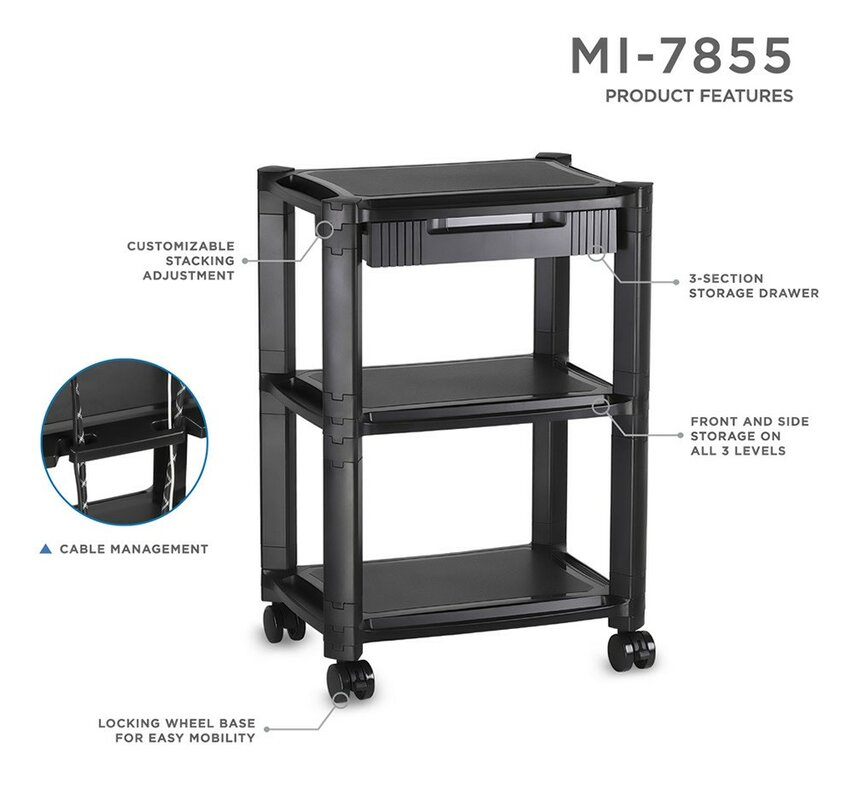 black computer itm sturdy with new table shelf mobile desk tower printer