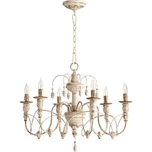 White shabby chic chandelier wayfair paladino 6 light candle style chandelier aloadofball Images