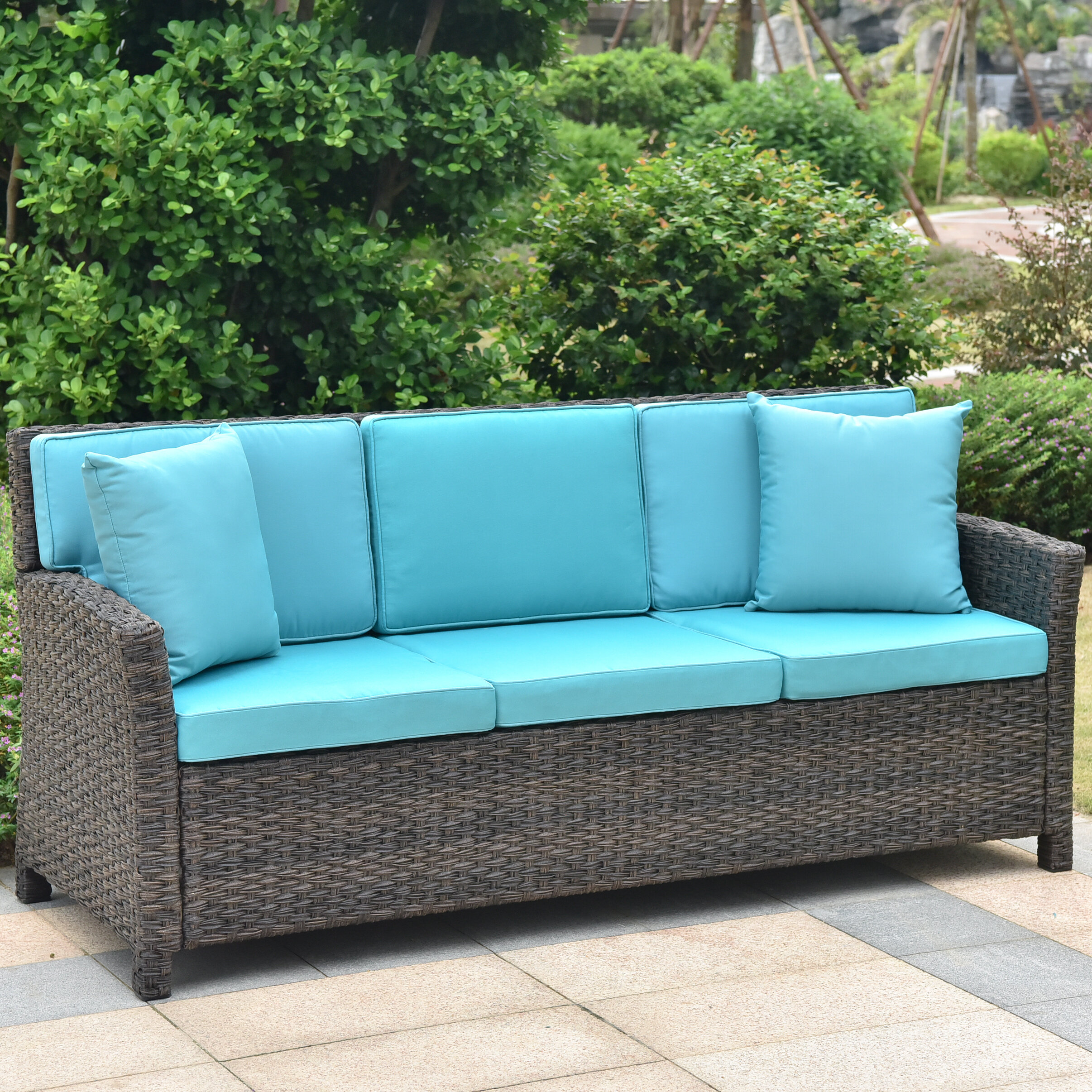 deanna resin wicker patio sofa with cushions joss main rh jossandmain com resin wicker sofa sets resin wicker sofa sale