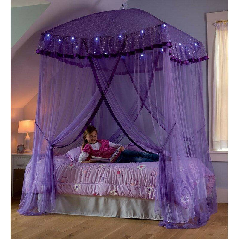 Hearthsong Sparkling Lights Bed Canopy Amp Reviews Wayfair
