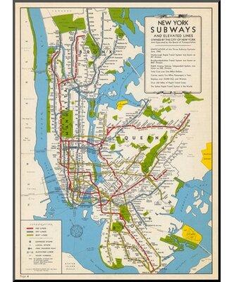 New York Subway Map Art.Wildon Home 1949 New York Subway Map New York United States