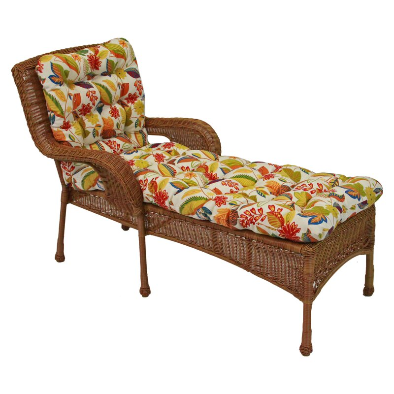 Blazing needles floral outdoor chaise lounge cushion for Blazing needles chaise cushion