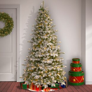 snowy frosted greenwhite fir artificial christmas tree with 450 clearwhite lights