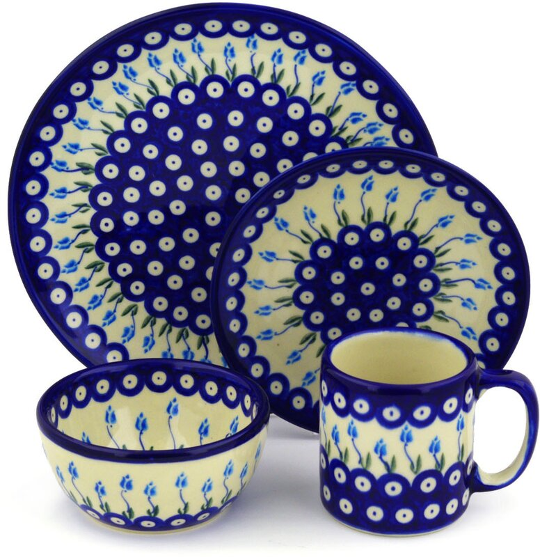 Floral Peacock Polish Pottery 4 Piece Place Setting Service for 1  sc 1 st  Wayfair & Polmedia Floral Peacock Polish Pottery 4 Piece Place Setting ...