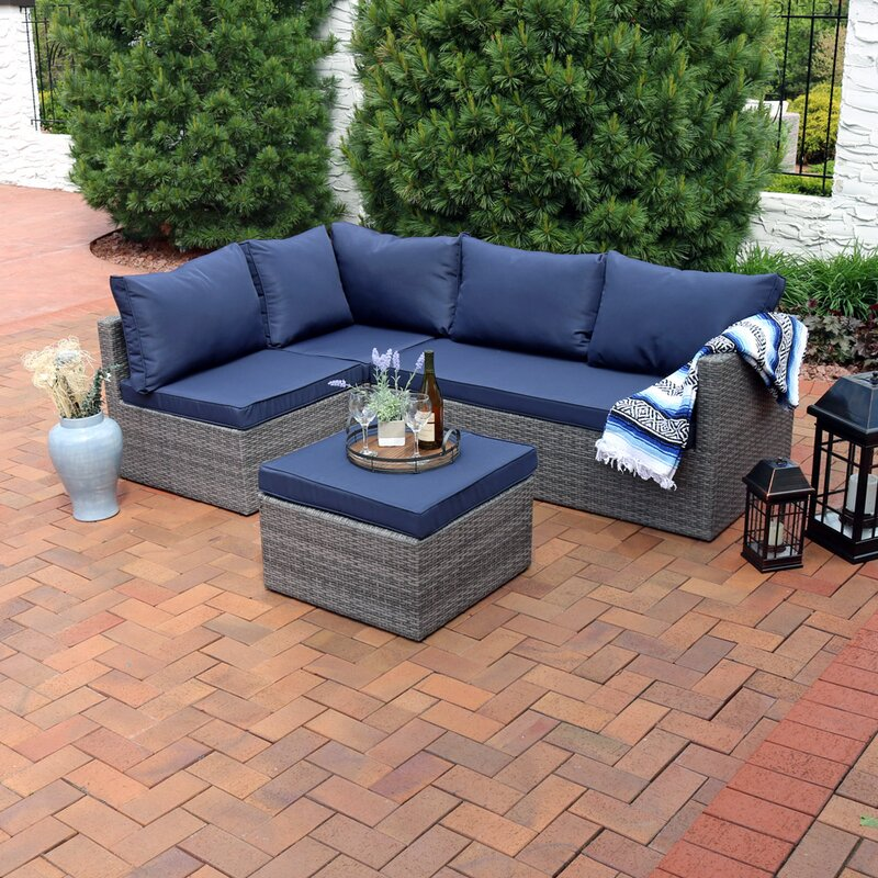 Stahl Wicker Rattan 4 Piece Patio Sofa Sectional Set With Cushions