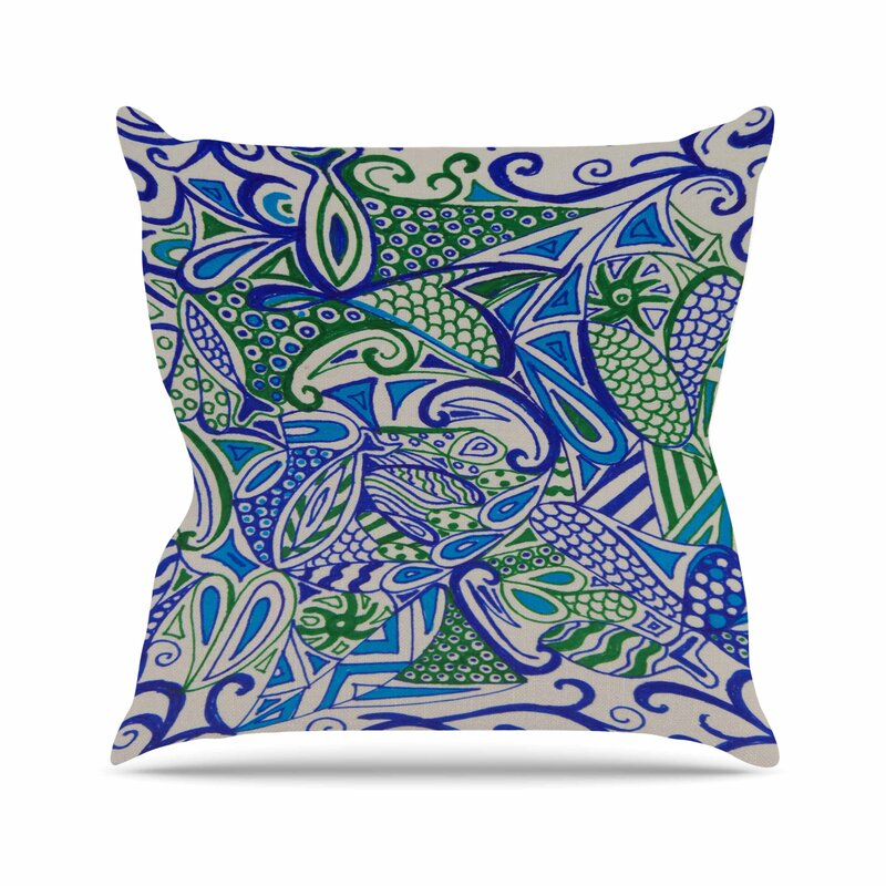 East Urban Home Rosie Brown Blue Green Zentangle Outdoor Throw Pillow Wayfair.ca