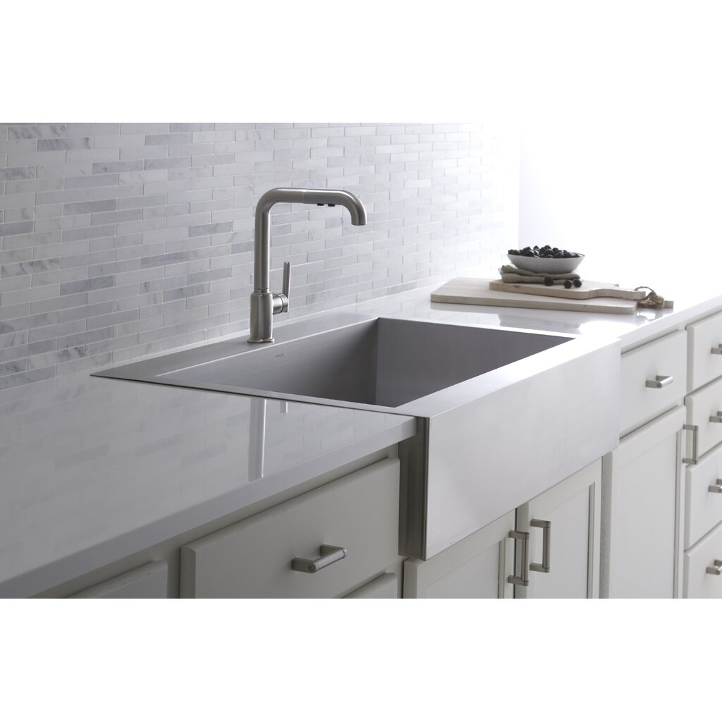 kitchen sink top kohler vault top mount single bowl stainless steel kitchen 2941