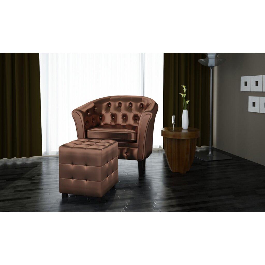 home etc chesterfield sessel mit hocker. Black Bedroom Furniture Sets. Home Design Ideas