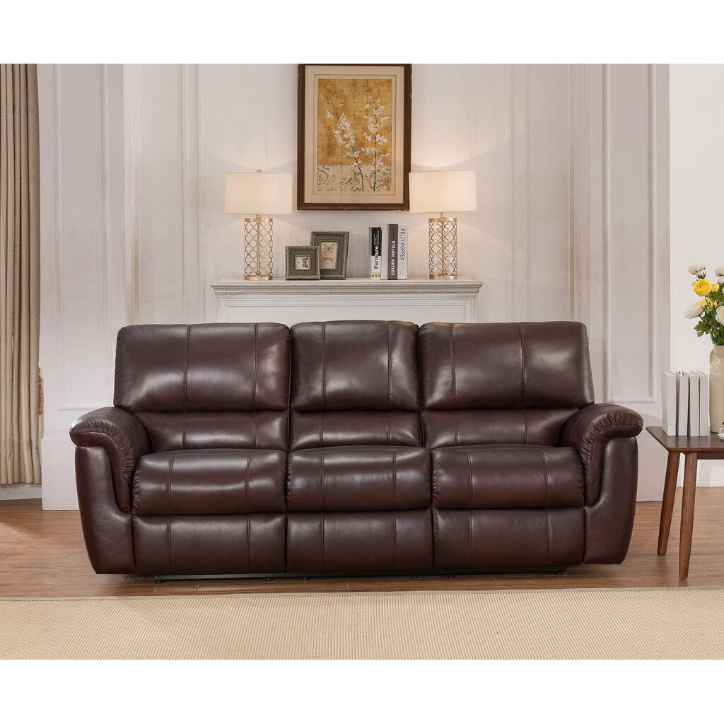 Darby home co ayler 2 piece brown leather reclining living room set 2 piece leather living room set