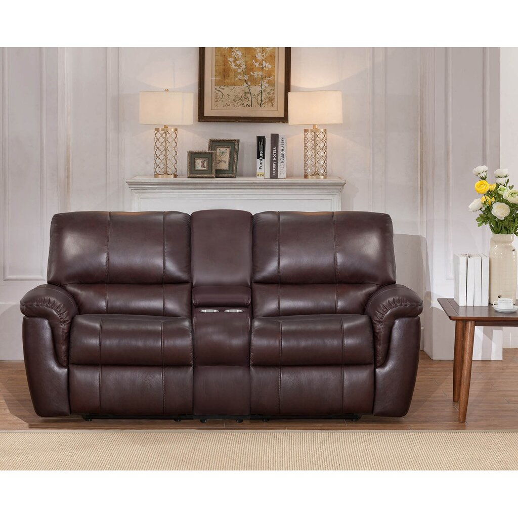 Darby Home Co Ayler 2 Piece Brown Leather Reclining Living Room Set