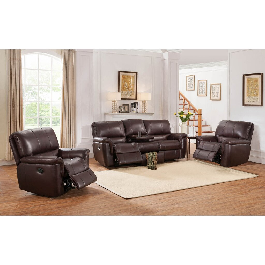 3 piece reclining living room set darby home co ayler 3 leather reclining living room 23988