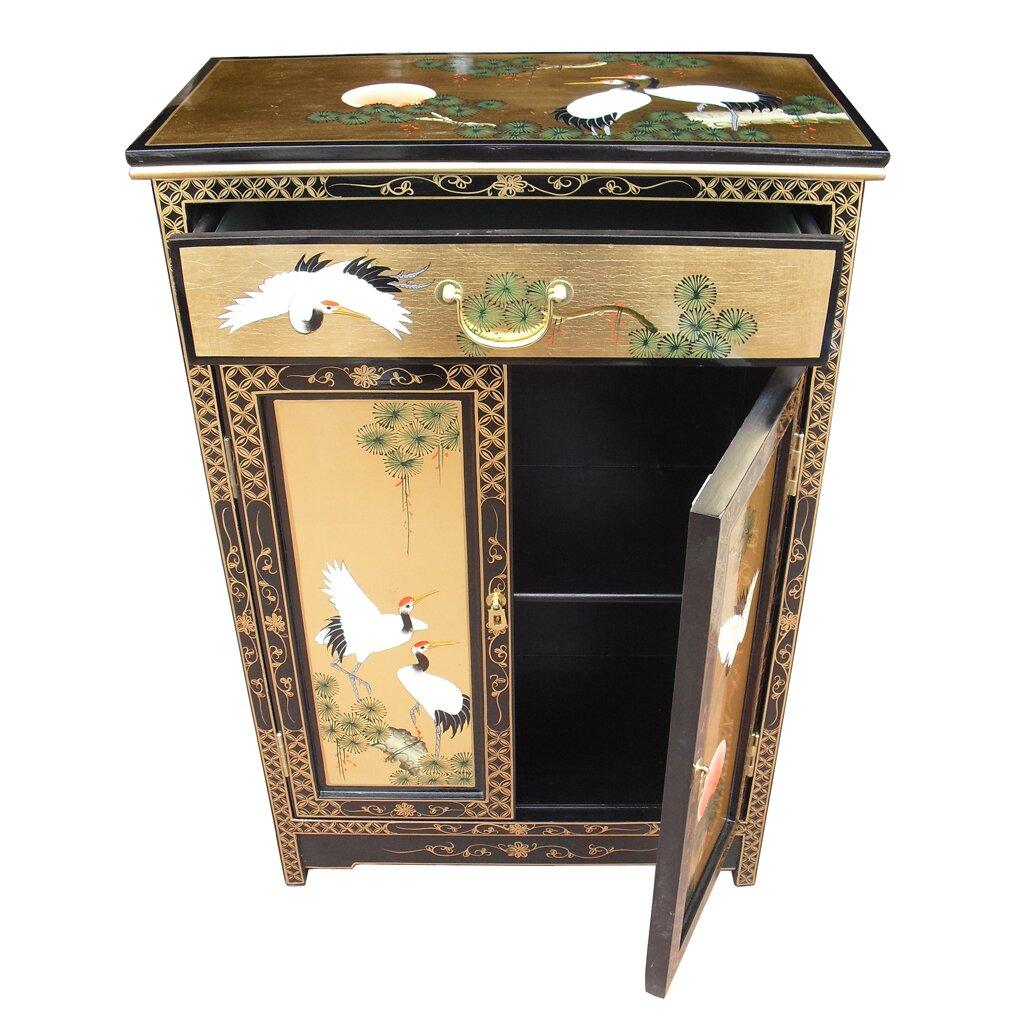 Grand international decor gold leaf 2 door 1 drawer for International decor