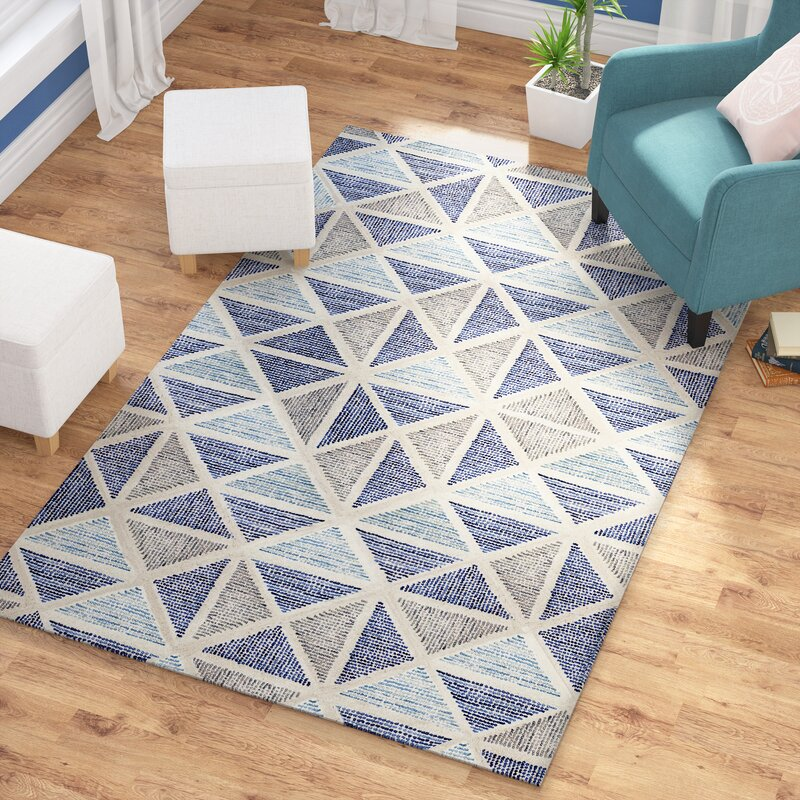 Beachcrest Home Callista Hand Tufted Wool Blue Area Rug Reviews