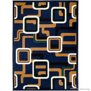 Hand-Woven Navy Area Rug