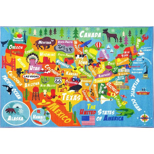 Zoomie Kids Weranna USA United States Geography Map Educational - Map of us geography