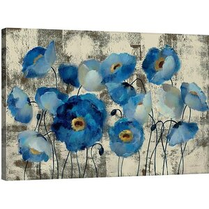 'Aquamarine Floral' Gallery Print on Wrapped Canvas