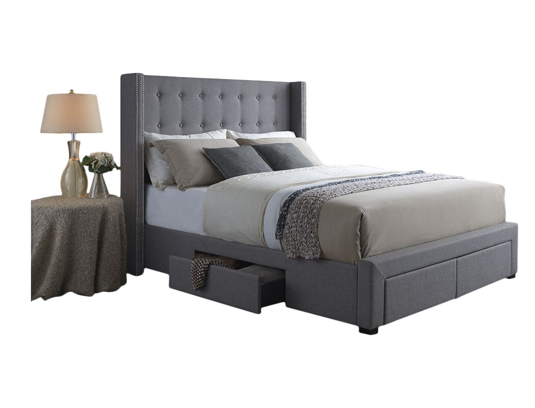 Thousand Oaks Savoy Storage Wingback Panel Bed