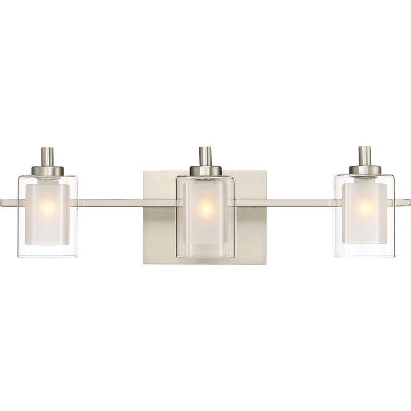 Bathroom Vanity Light Distance From Ceiling wade logan aldrich 3-light vanity light & reviews | wayfair