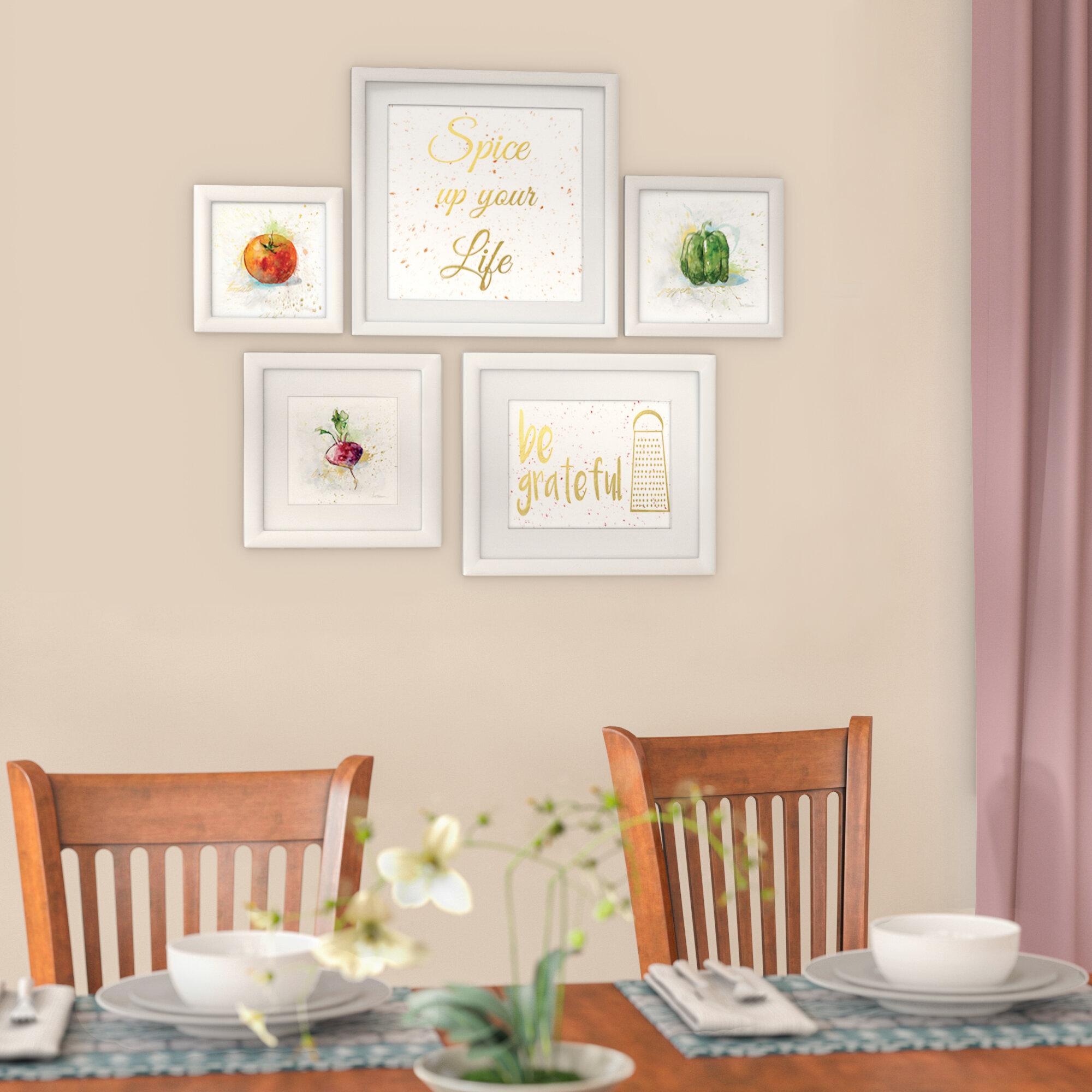 Mercury Row \'Kitchen Collage\' 5 Piece Framed Graphic Art Set ...