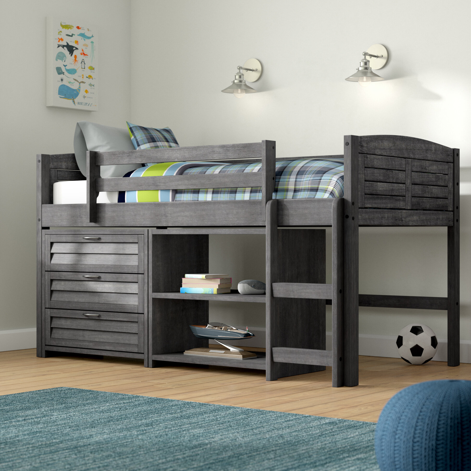 Birch Lane Heritage Evan Twin Low Loft Bed With Storage Reviews