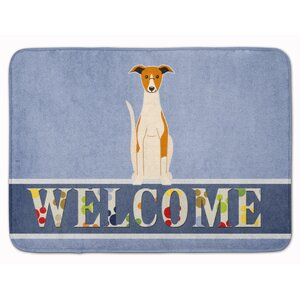 Whippet Welcome Memory Foam Bath Rug