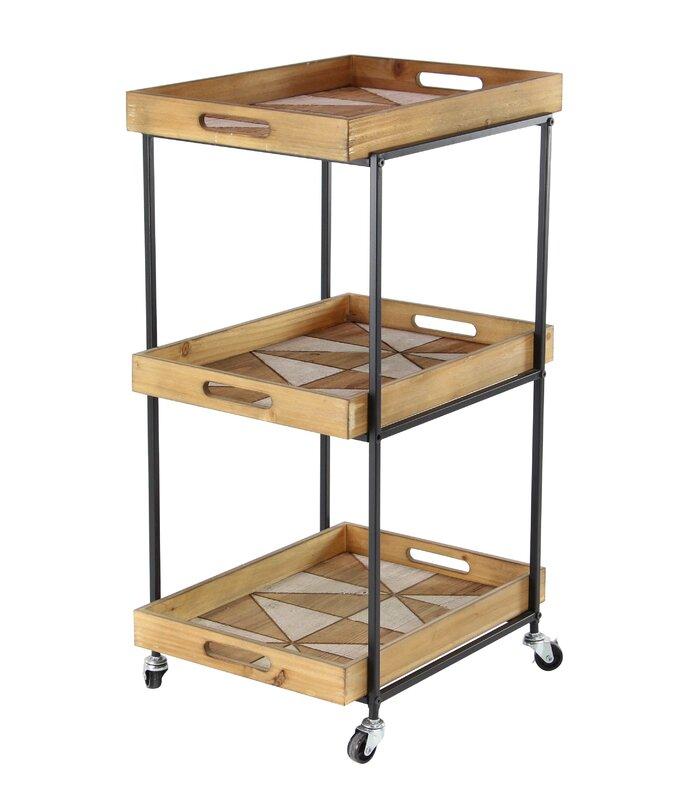 Valeria Modern Wood And Iron 3 Tier Bar Cart