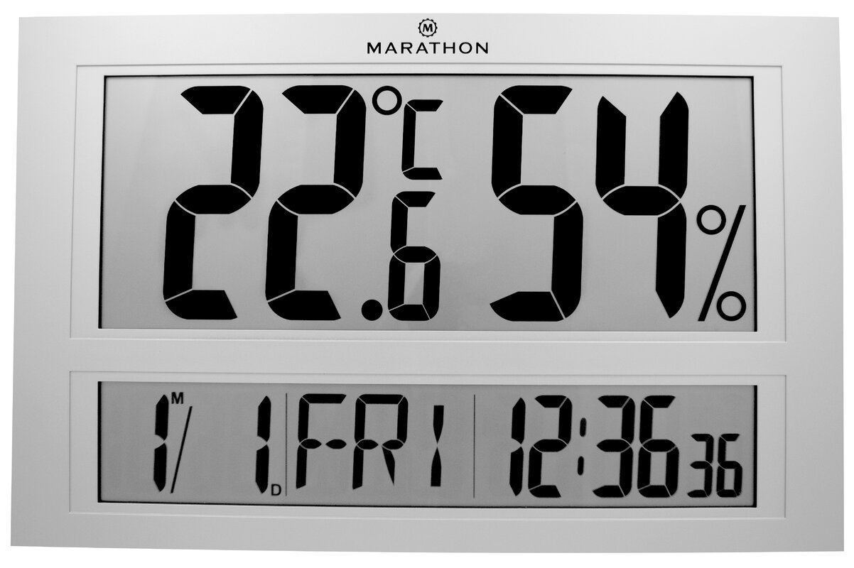 Marathon watch company jumbo indoor digital humidity monitor jumbo indoor digital humidity monitor hygrometer with clock and calendar amipublicfo Images