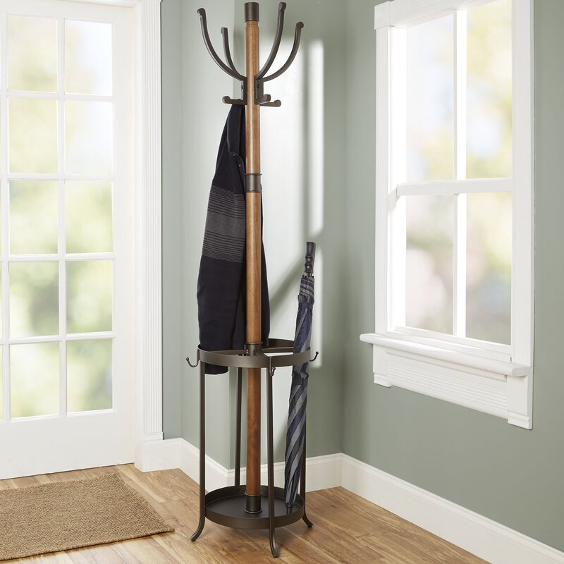 Andreas Wood And Metal Coat Rack With Umbrella Stand