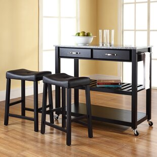 Hedon Kitchen Island Set with Granite Top