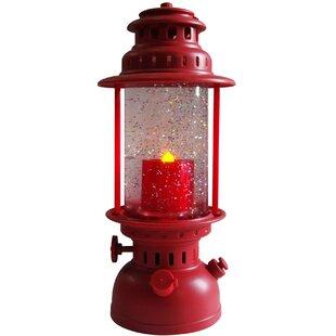 Lighted Led Shimmer Red Lantern