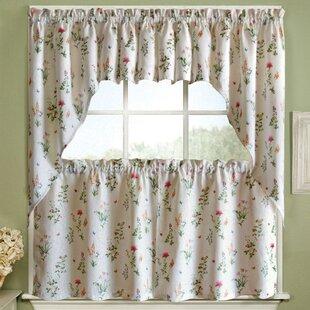 English Garden Floral Jacquard Kitchen Curtain Panels Set Of 2