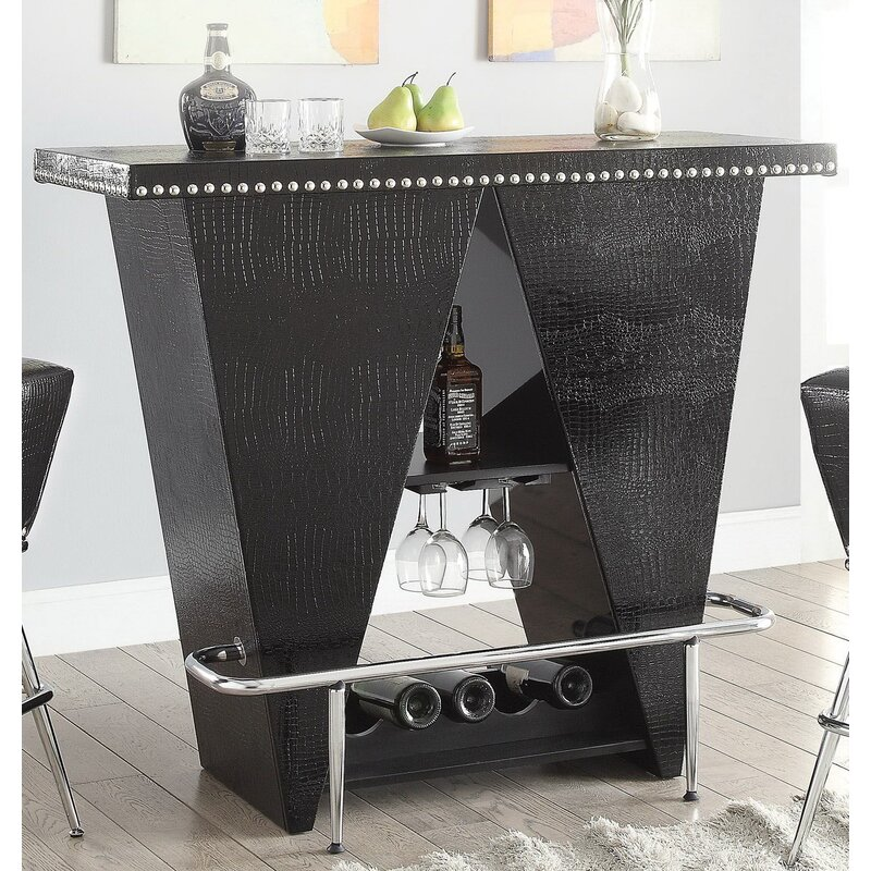 Gillan Bar Table with Wine Storage & Everly Quinn Gillan Bar Table with Wine Storage | Wayfair
