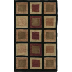 Jamaris Black Checked Area Rug