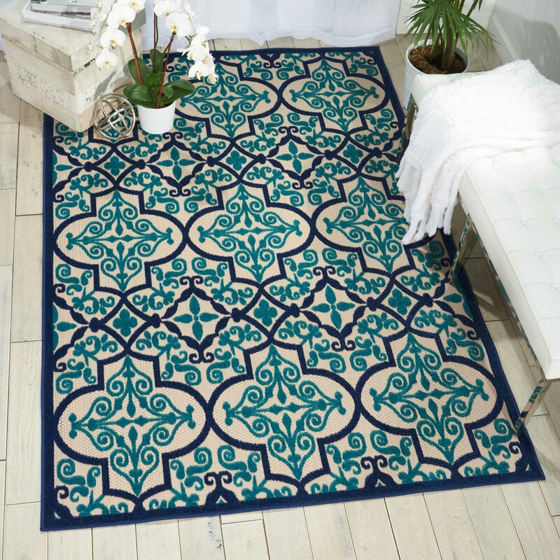 Seaside Navy Teal Indoor Outdoor Area Rug Amp Reviews Joss