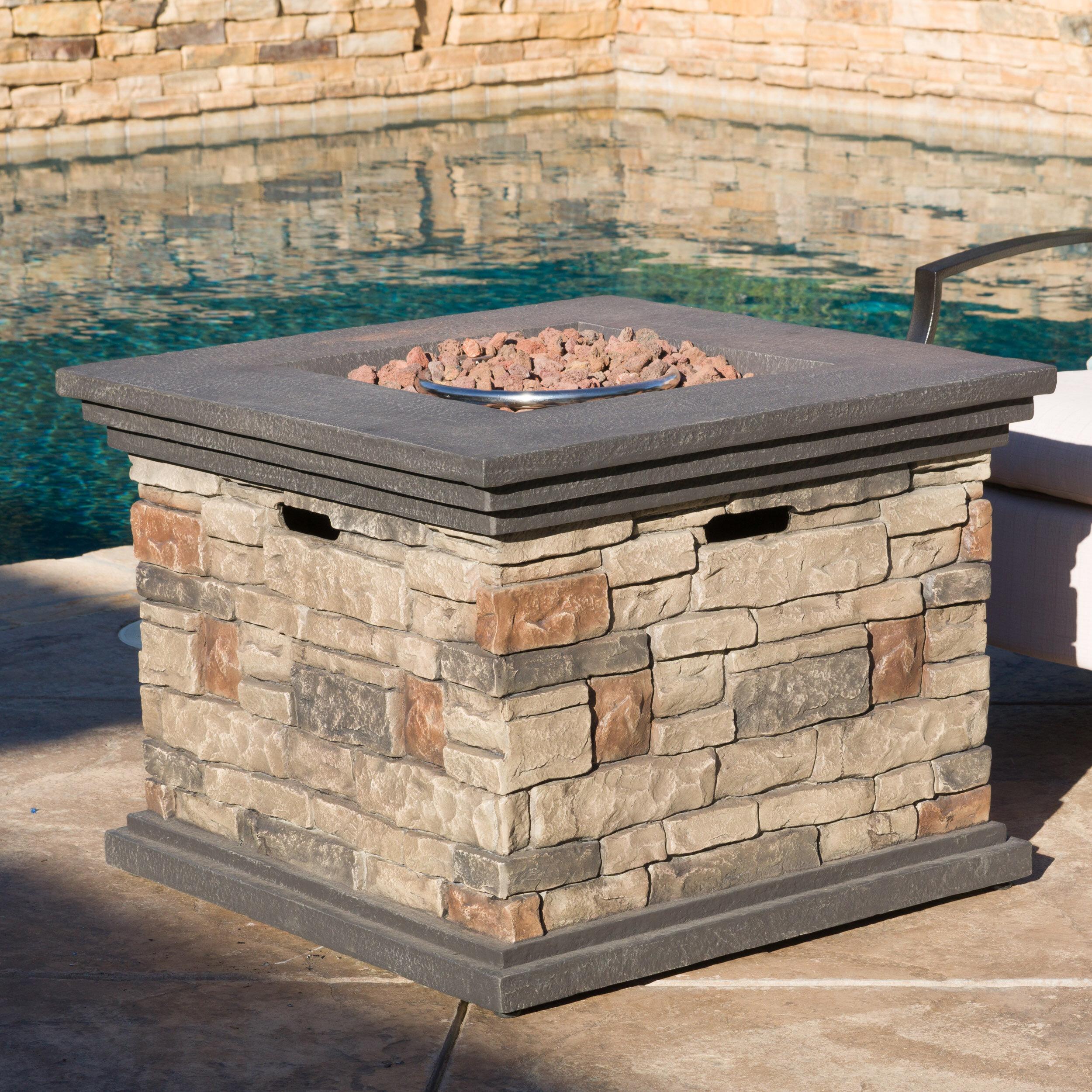 Freeport Park Herefordshire Stone Propane Fire Pit Table U0026 Reviews   Wayfair