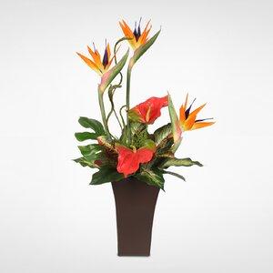 Silk Bird of Paradise and Anthurium Tropical Floral Arrangement