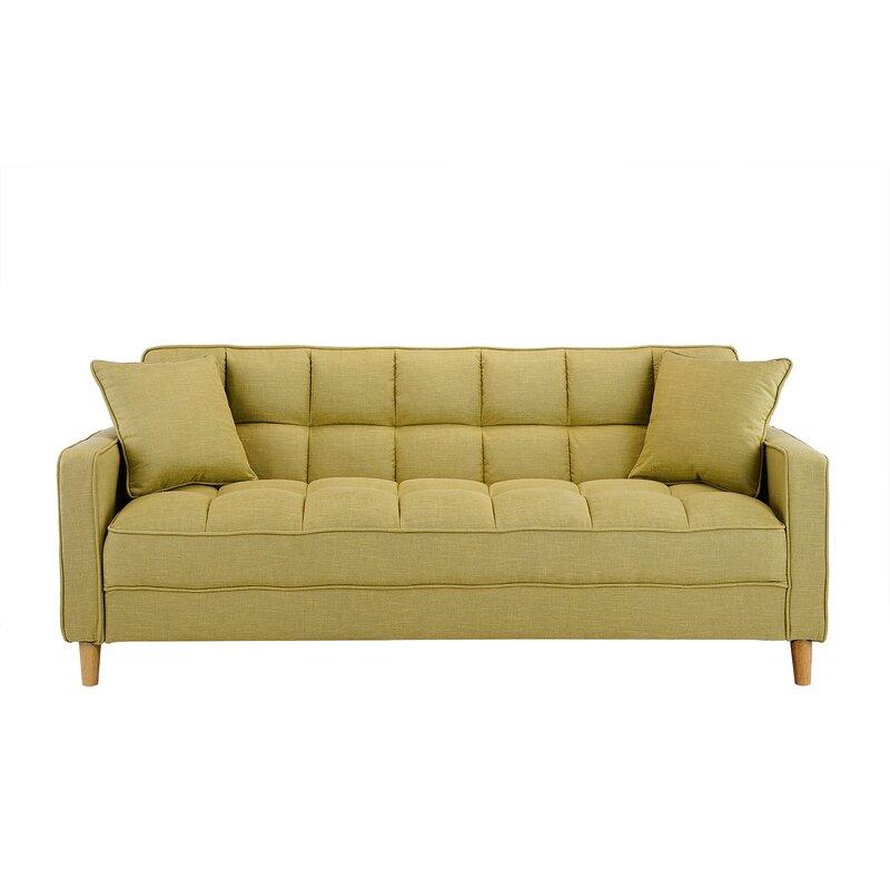 Ebern Designs Wooler Modern Linen Fabric Tufted Small Space Sofa ...