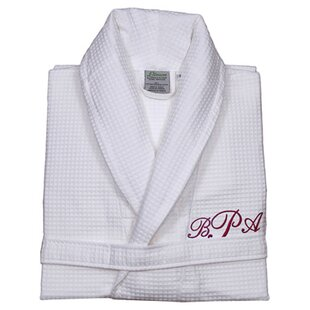 032075709f Personalized Waffle Bathrobe in White   Red