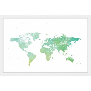 Oversized world map framed art youll love wayfair green world by shayna pitch framed painting print gumiabroncs Choice Image